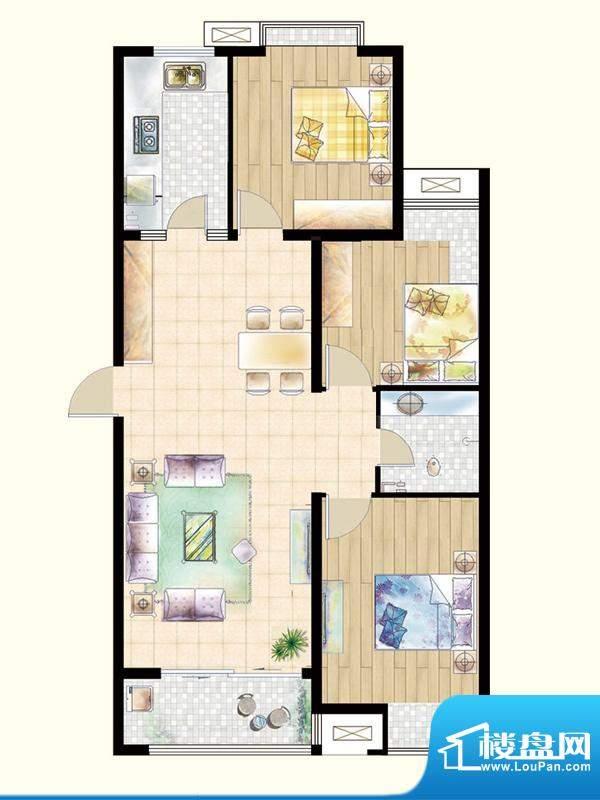 嘉宇枫尚户型图L1户型 3室2厅1面积:119.30平米
