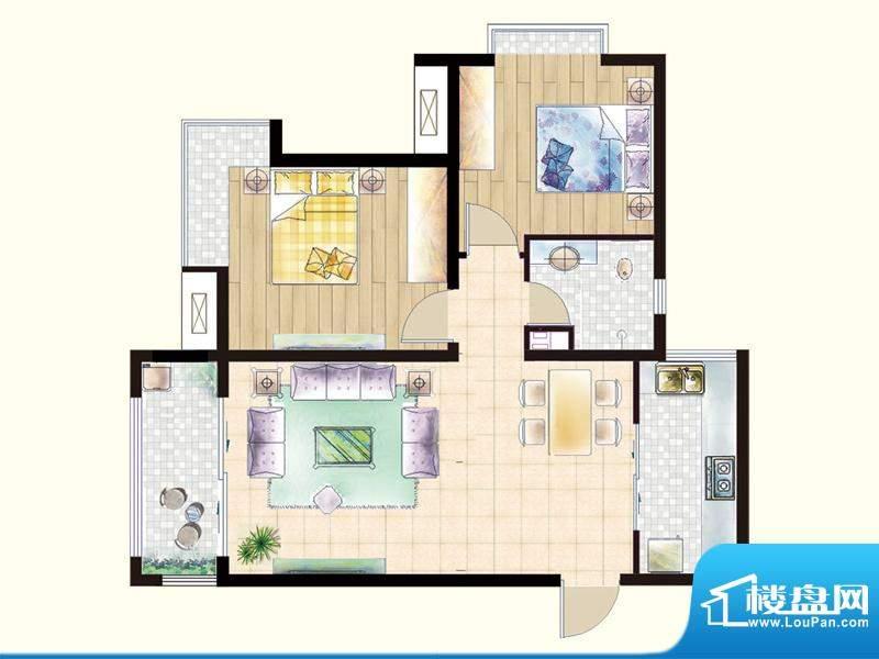 嘉宇枫尚户型图I1户型 2室2厅1面积:92.40平米