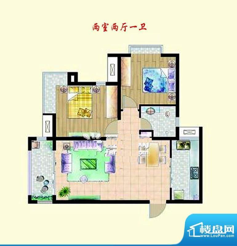 嘉宇枫尚户型图户型图 2室2厅1面积:68.00平米