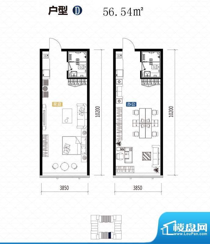 城市中坚户型图D户型 1室1厅1卫面积:56.54平米