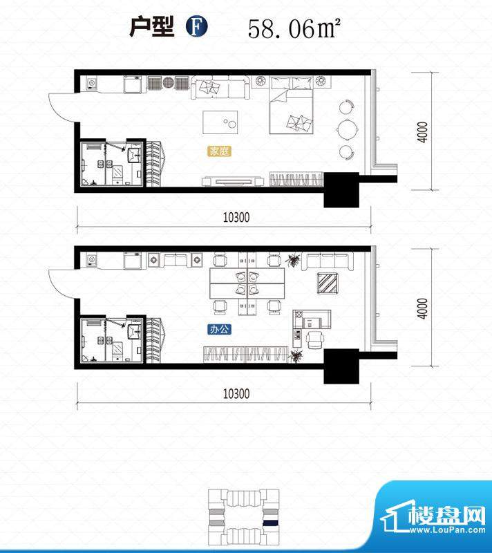 城市中坚户型图F户型 1室1厅1卫面积:58.06平米