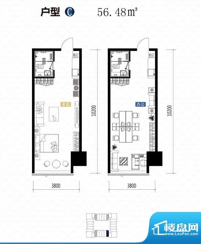 城市中坚户型图C户型 1室1厅1卫面积:56.48平米