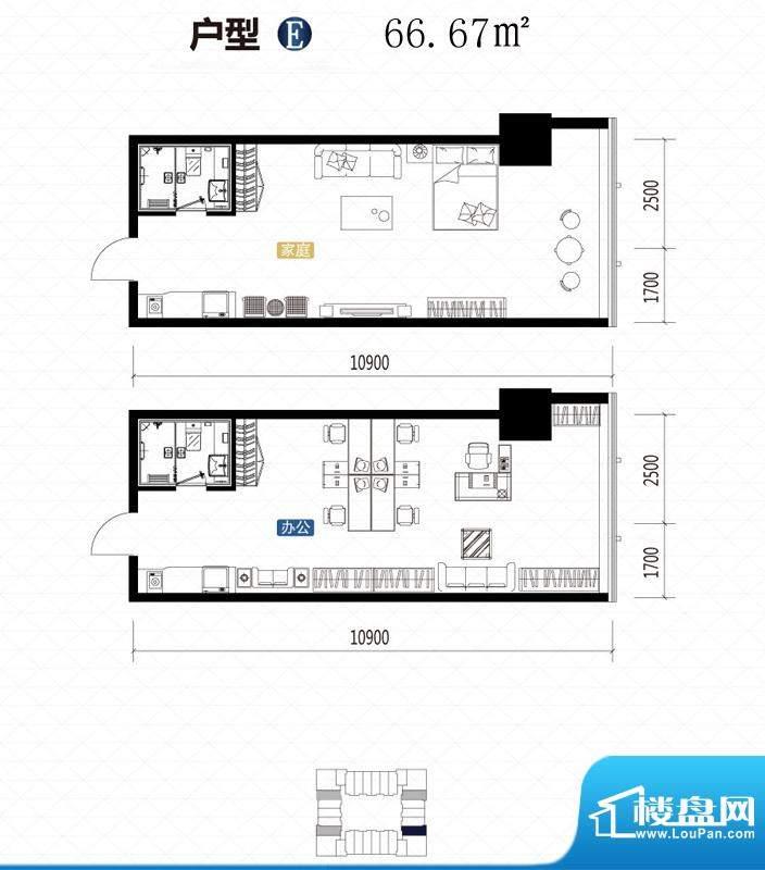 城市中坚户型图E户型 1室1厅1卫面积:66.67平米