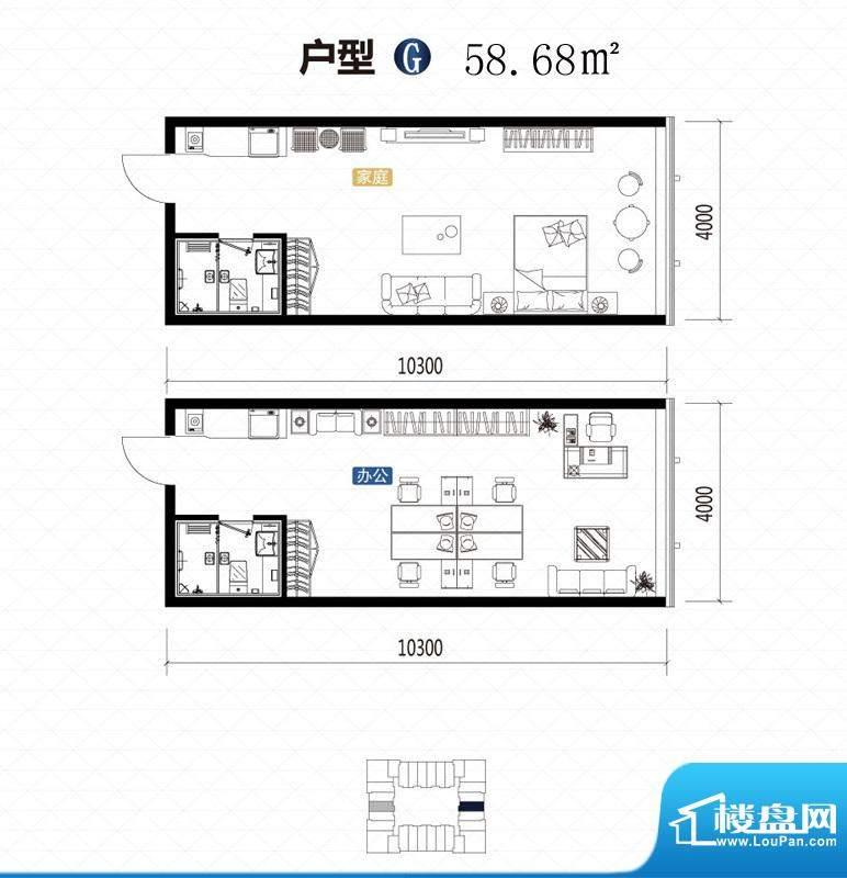 城市中坚户型图G户型 1室1厅1卫面积:58.68平米