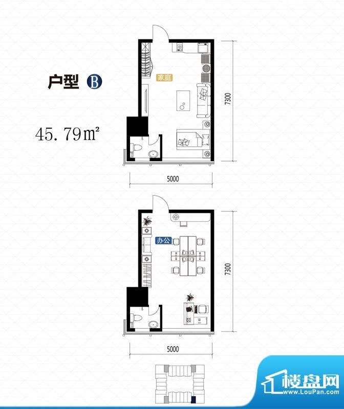 城市中坚户型图B户型 1室1厅1卫面积:45.79平米