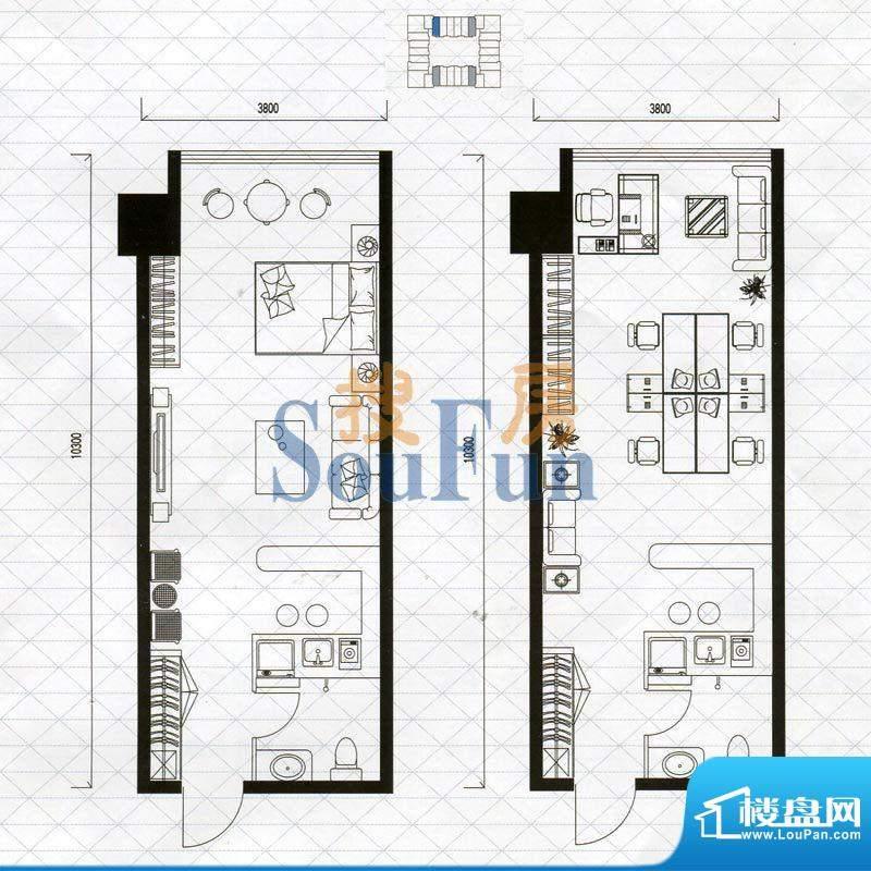 城市中坚户型图C户型1室1厅1卫