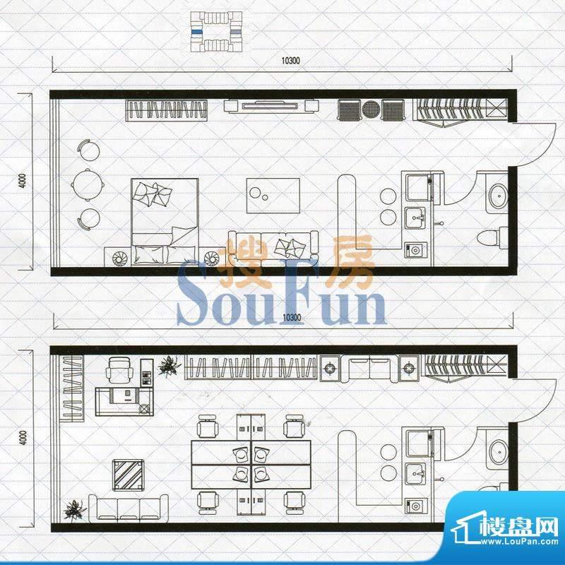 城市中坚户型图G户型1室1厅1卫