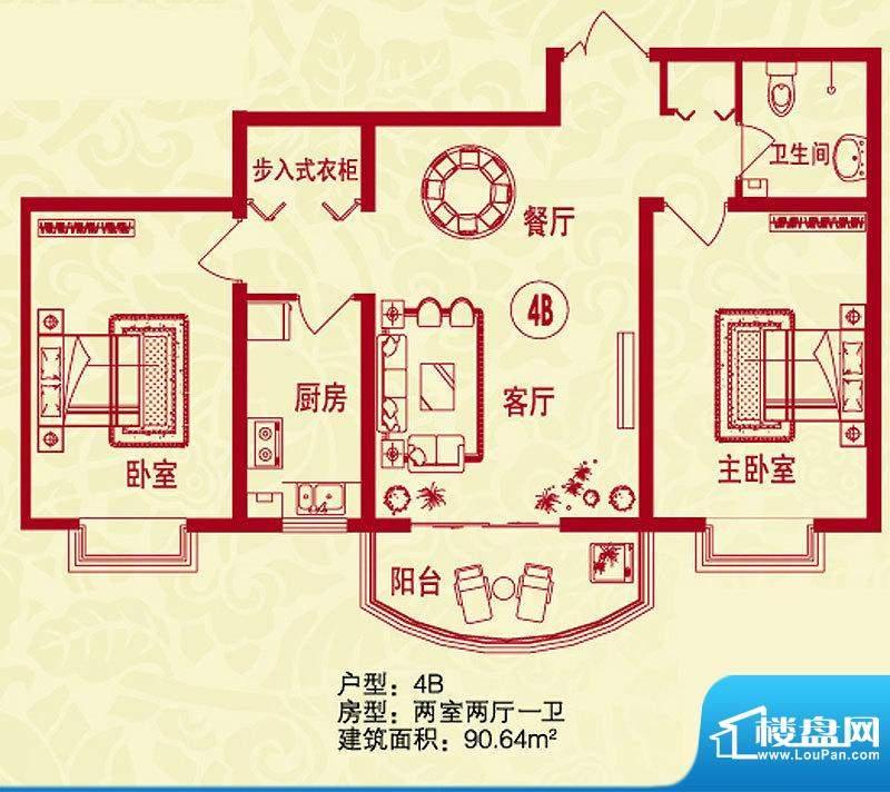 金桥水岸户型图4B户型 2室2厅1面积:90.64平米