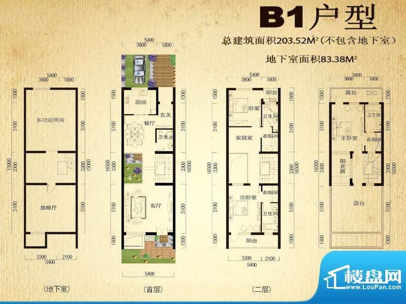 中堂户型图B1户型 3室5厅4卫1厨面积:203.52平米