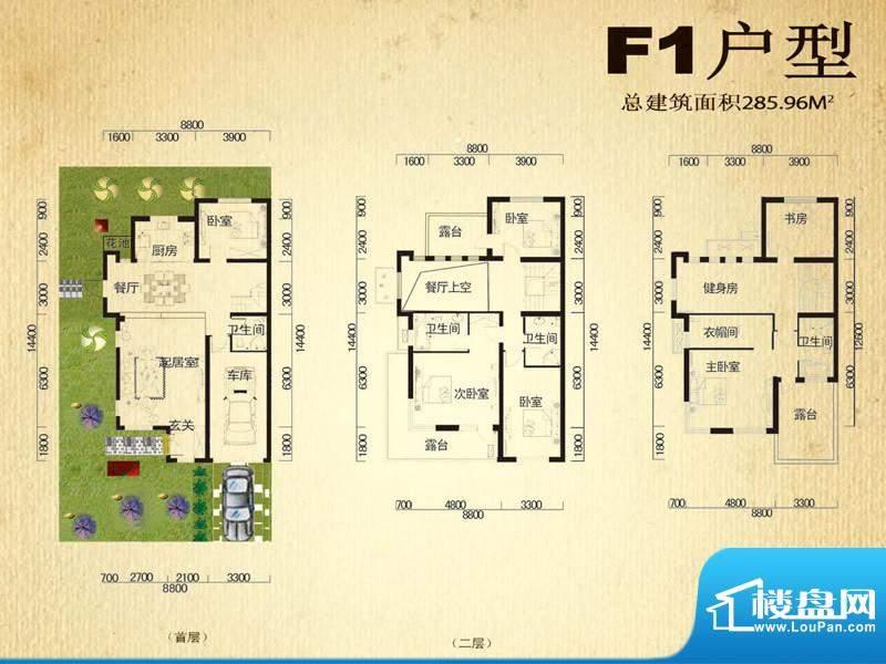 中堂户型图F1户型 6室3厅4卫1厨面积:285.96平米
