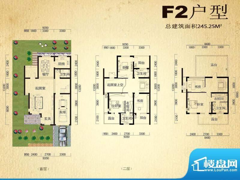 中堂户型图F2户型 5室2厅4卫1厨面积:245.25平米