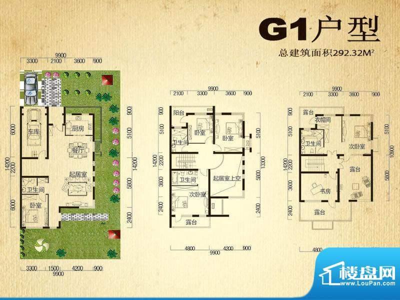 中堂户型图G1户型 6室2厅4卫1厨面积:292.32平米