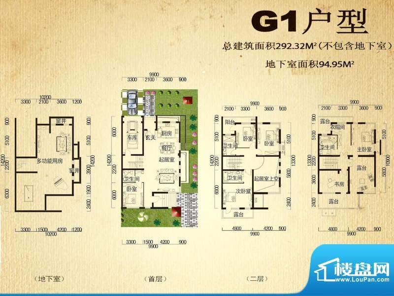 中堂户型图G户型 6室3厅3卫1厨面积:292.32平米