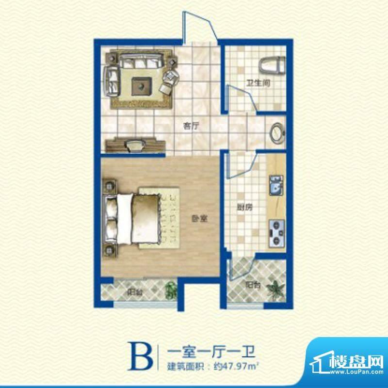 康太家园户型图B户型 1室1厅1卫面积:47.97平米