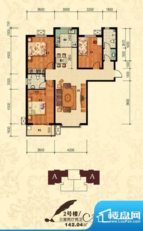 北宁湾户型图A户型 3室2厅2卫1面积:142.04平米