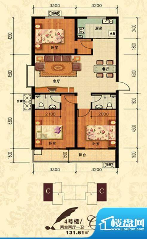 北宁湾户型图C户型 3室2厅2卫1面积:131.61平米