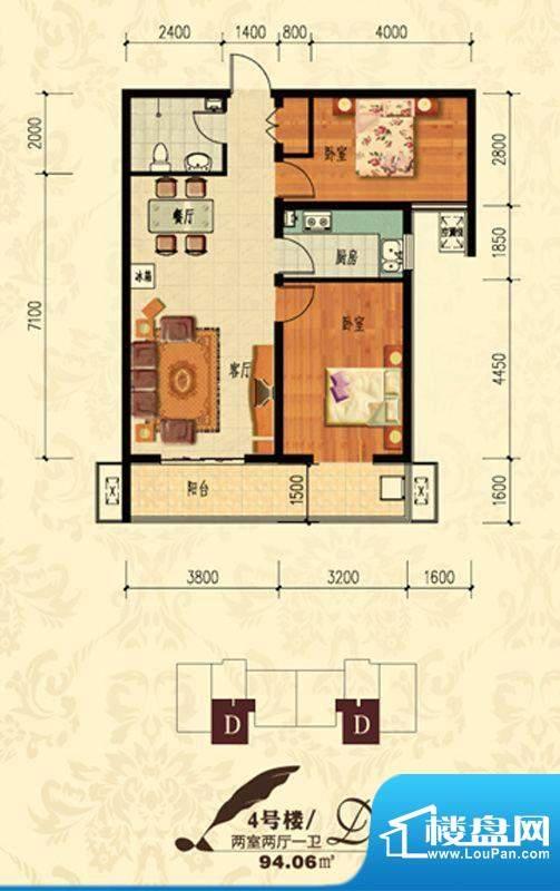 北宁湾户型图D户型 2室2厅1卫1面积:94.06平米