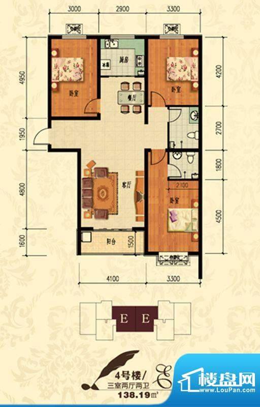 北宁湾户型图E户型 3室2厅2卫1面积:138.19平米