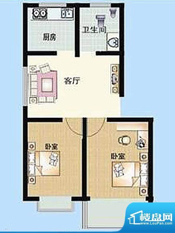 仕府名苑户型图B户型 2室2厅1卫面积:91.03平米