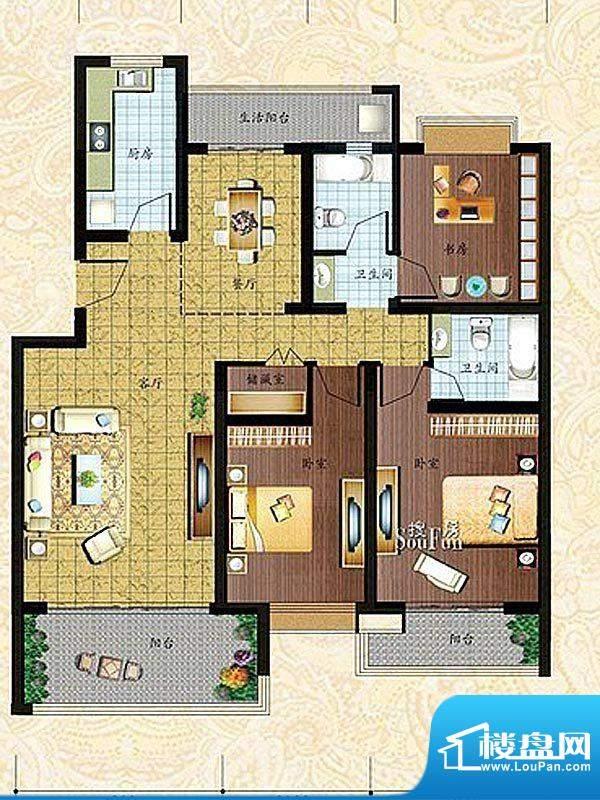 仕府名苑户型图A户型 3室2厅2卫面积:133.98平米