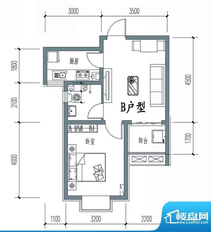 天冠城户型图6#-B户型 1室1厅1面积:54.14平米