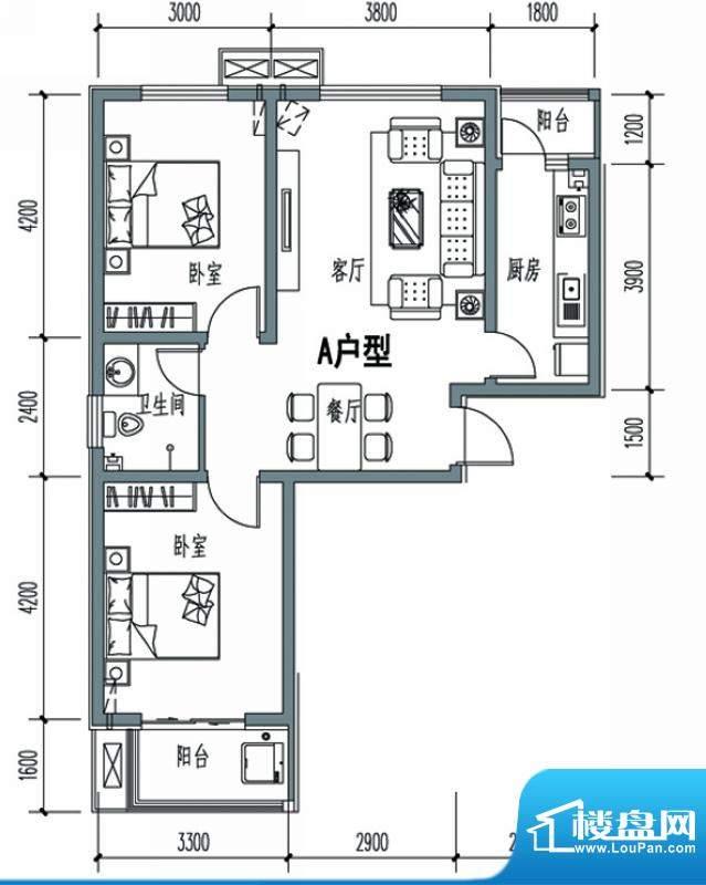 天冠城户型图10#-A户型 2室2厅面积:88.57平米