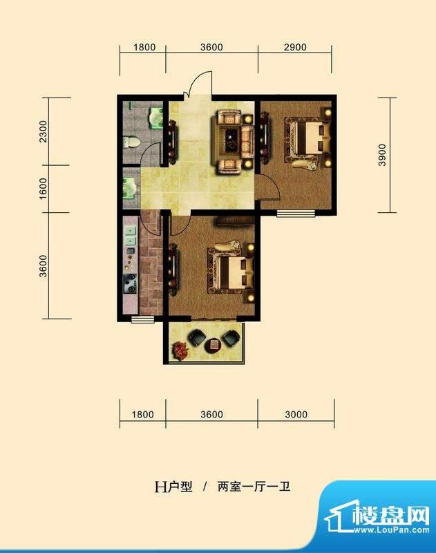 弘达明尚户型图h-1户型图 2室1面积:90.00平米