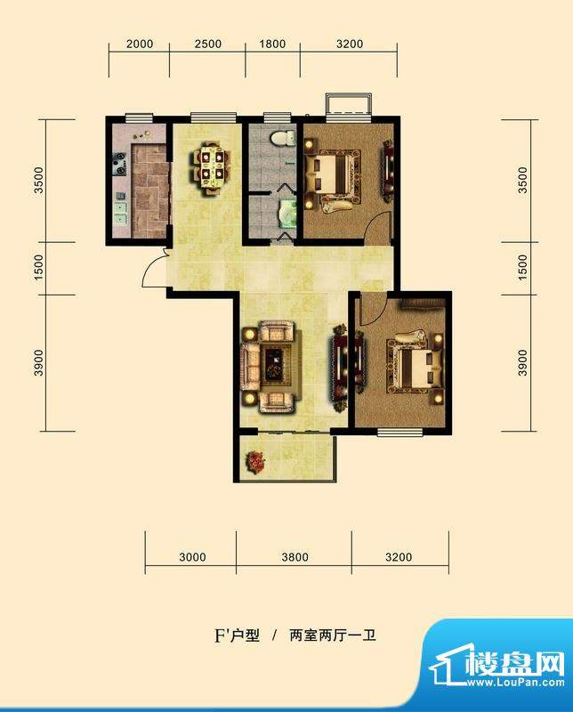 弘达明尚户型图f-1户型图 2室2面积:90.00平米