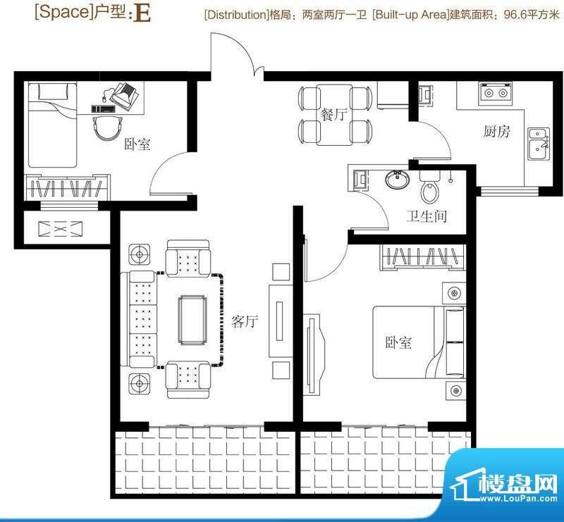 弘达明尚户型图e 2室2厅1卫1厨面积:92.60平米