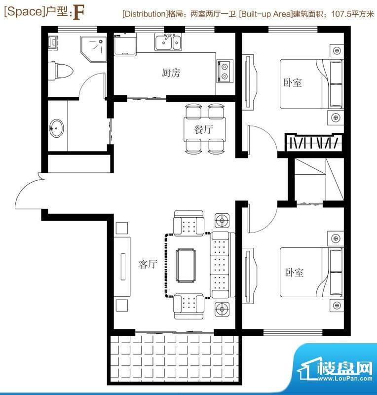 弘达明尚户型图f 2室2厅1卫1厨面积:107.50平米