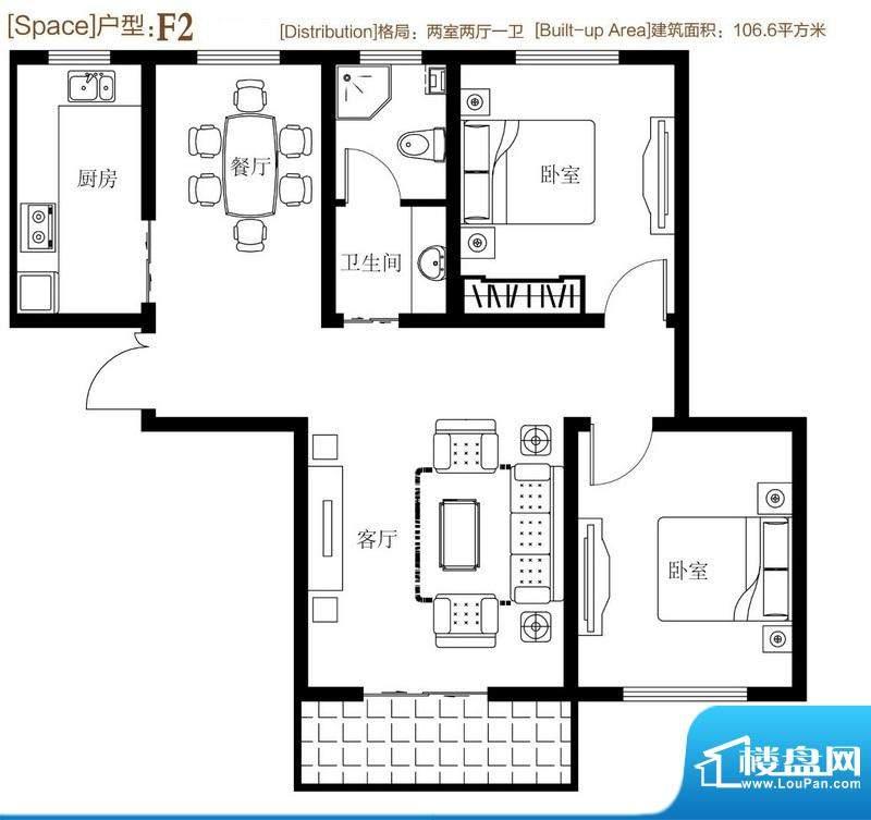 弘达明尚户型图f2 2室2厅1卫1厨面积:102.00平米