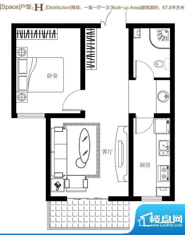 弘达明尚户型图h 1室1厅1卫1厨面积:67.80平米