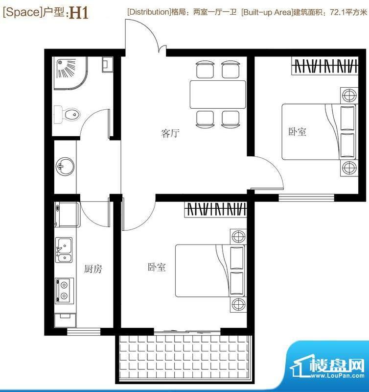 弘达明尚户型图h1 2室1厅1卫1厨面积:75.10平米