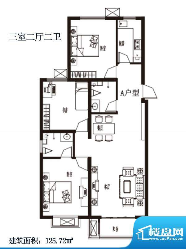 上上东户型图A户型 3室2厅2卫1面积:125.72平米