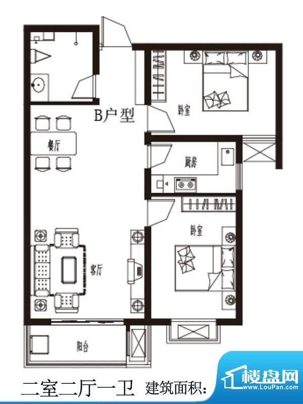上上东户型图B户型 2室2厅1卫1面积:93.54平米