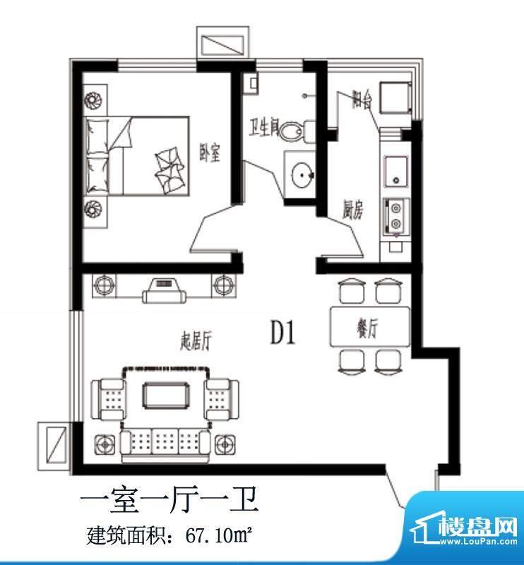 上上东户型图D1户型 1室1厅1卫面积:67.10平米
