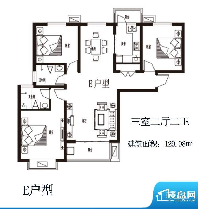 上上东户型图E户型 3室2厅2卫1面积:129.98平米