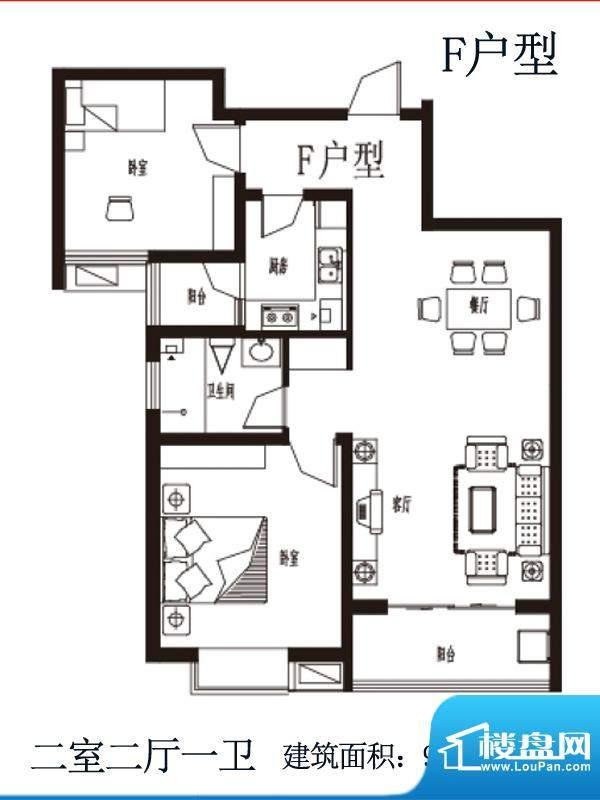 上上东户型图F户型 2室2厅1卫1面积:99.02平米