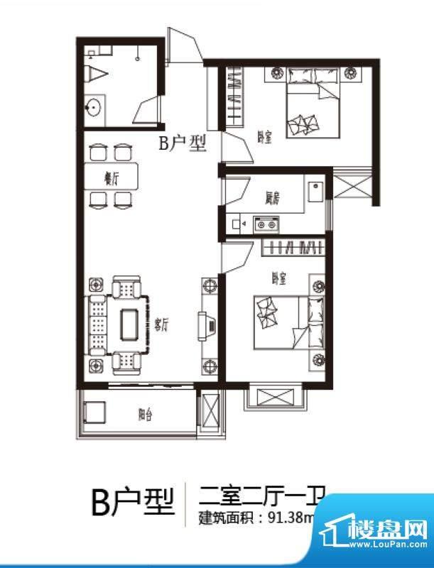 上上东户型图B户型 2室2厅1卫1面积:91.38平米
