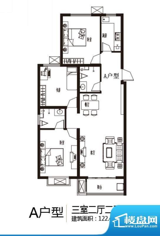 上上东户型图A户型 3室2厅2卫1面积:122.44平米