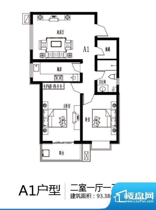 上上东户型图A1户型 2室1厅1卫面积:93.38平米