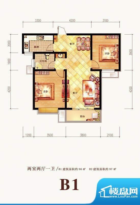 格调春天户型图B户型 2室2厅1卫面积:97.00平米