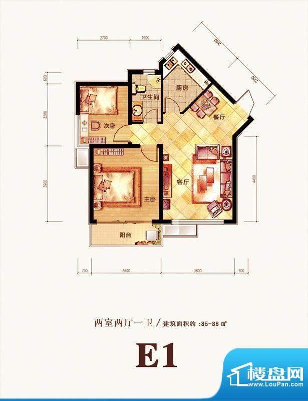 格调春天户型图E1户型 2室2厅1面积:85.00平米
