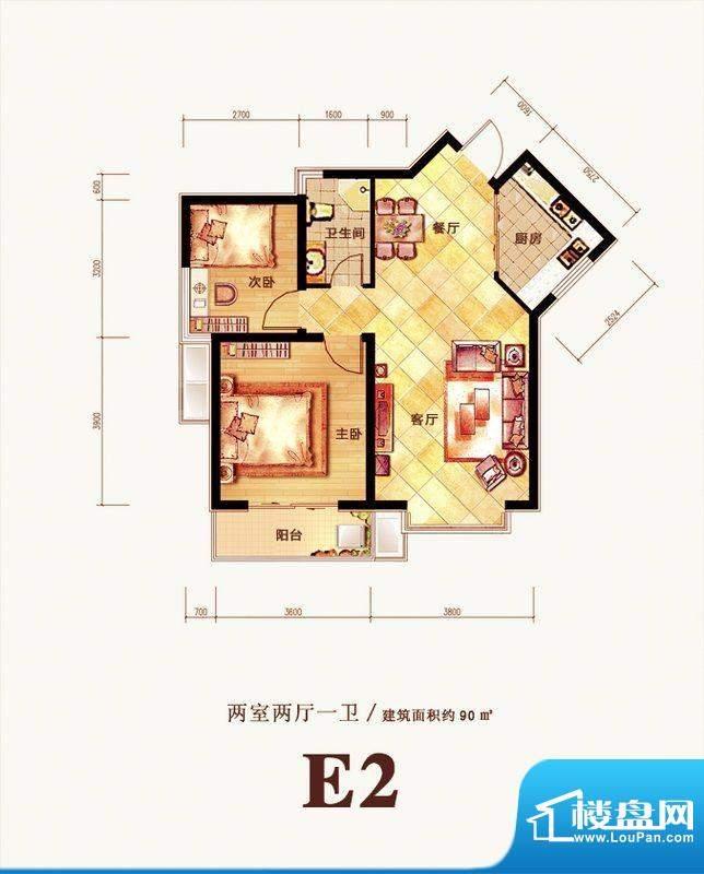 格调春天户型图E2户型 2室2厅1面积:90.00平米