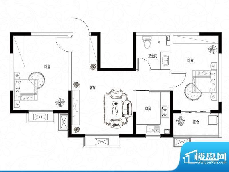 滨湖颐园户型图B-4户型 2室1厅面积:85.70平米