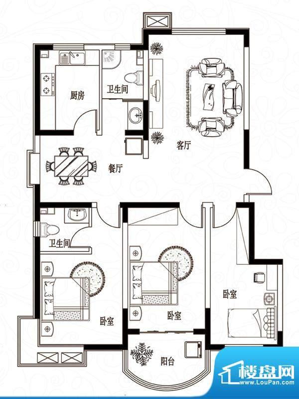 滨湖颐园户型图A-1户型 3室2厅面积:126.90平米