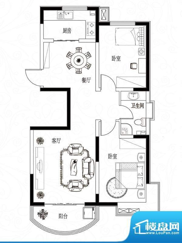 滨湖颐园户型图A-2户型 2室2厅面积:96.16平米