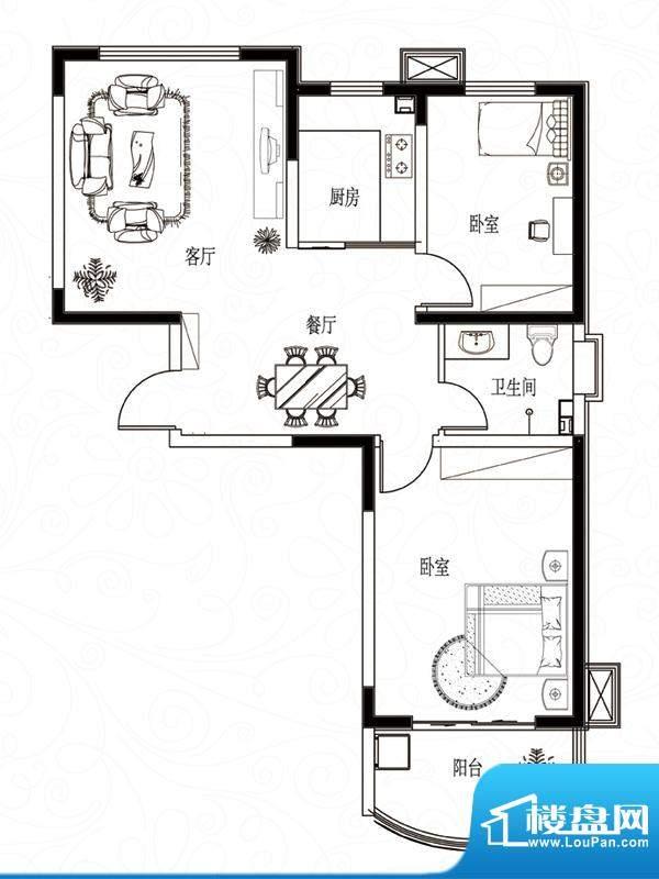 滨湖颐园户型图A-4户型 2室2厅面积:91.53平米