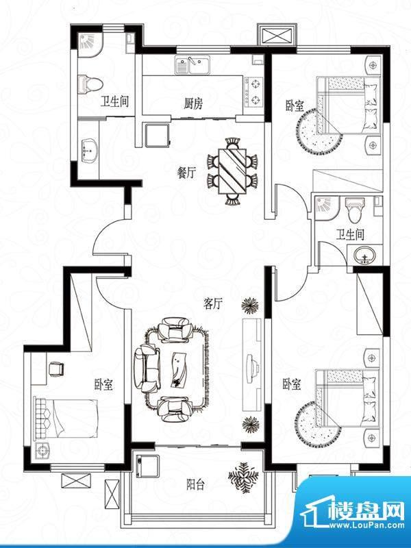 滨湖颐园户型图B-1户型 3室2厅面积:130.85平米