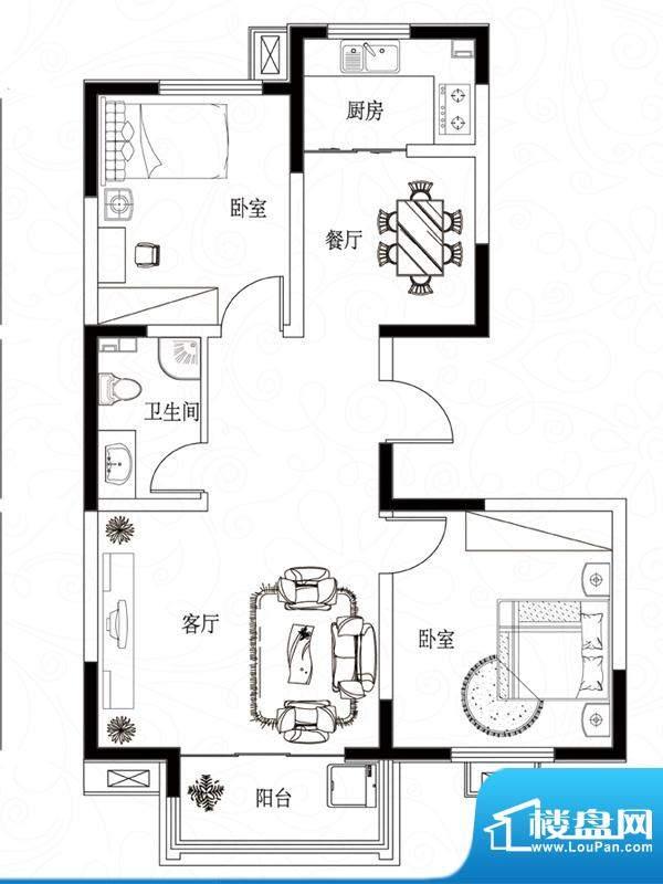 滨湖颐园户型图B-2户型 2室2厅面积:93.26平米